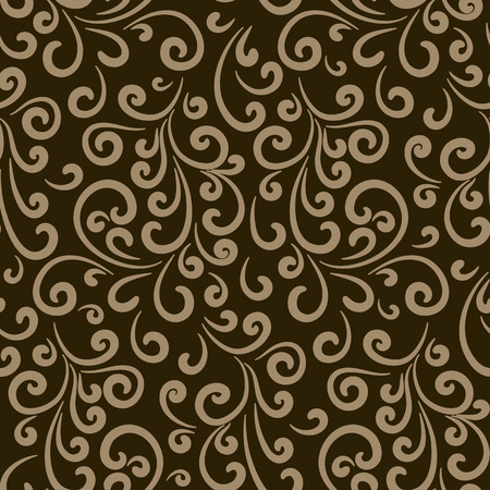 scrollwork: Vintage gold background, decorative swirly ornament, seamless pattern with abstract swirls