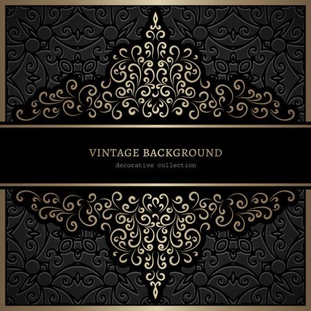 black swirls: Vintage gold swirls on black background, ornamental frame