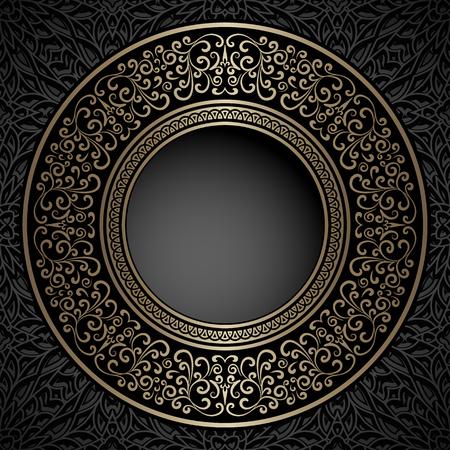 ornate frame: Vintage background, gold ornamental label, round frame template