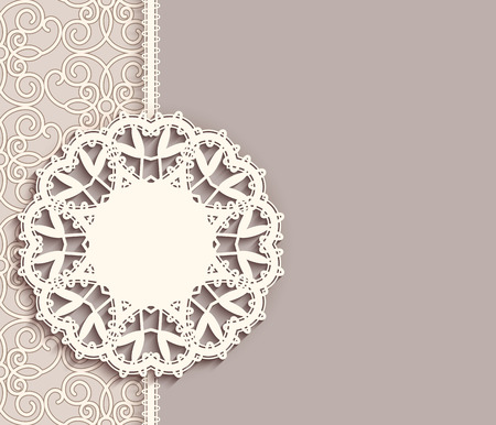 tatting: Elegant lace label on ornamental neutral background, pendant, mandala, lacy decoration, greeting card, invitation or announcement template