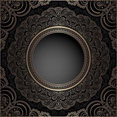 Vintage gold background, mandala, ornamental circle frame and corner elements in Indian style, elegant decoration for packaging design Ilustrace