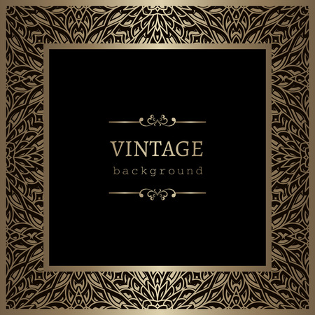 square frame: Vintage gold background, ornamental square frame, vector greeting card or invitation template