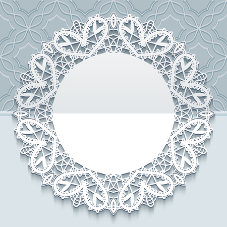 tatting: Greeting or save the date card, wedding invitation, handmade lace doily, round frame with lacy border on ornamental background Illustration