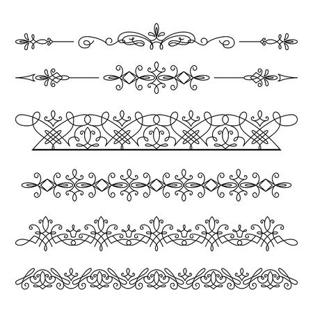 Conjunto de ornamentos lineales de fronteras, separadores, elementos de frontera vintage, adorno elegante en blanco