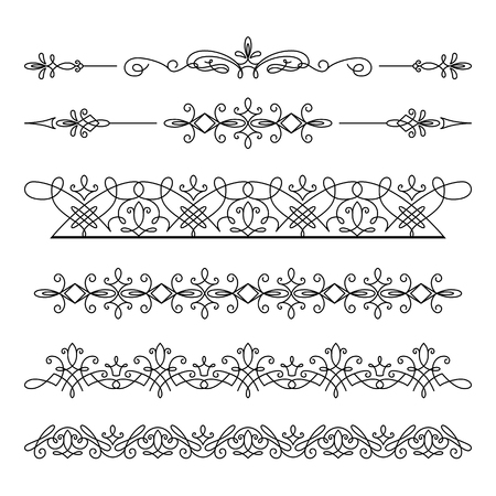 bracelet tattoo: Set of linear border ornaments, dividers, vintage border elements, elegant embellishment on white