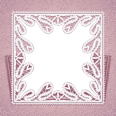 tatting: Square lace doily with laser cut ornament