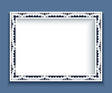 tatting: Rectangle frame with paper lace border ornament, vintage background, greeting card or wedding invitation template