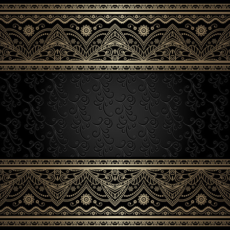 frame vintage: Vintage gold background, ornamental frame with filigree metal borders