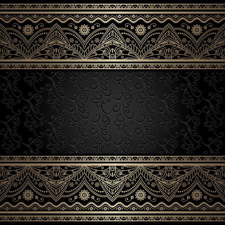 gold frame: Vintage gold background, ornamental frame with filigree metal borders