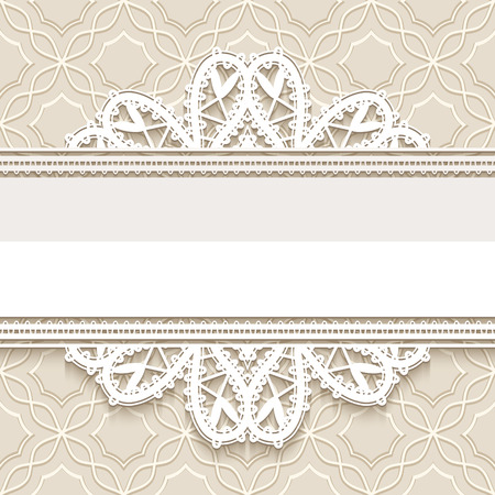 Elegant background with ornamental lace borders, decorative lace frame, greeting card or invitation template