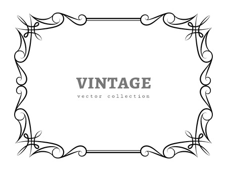 rectangle: Vintage calligraphic rectangle frame, decorative design element in retro style, vector certificate or invitation template on white