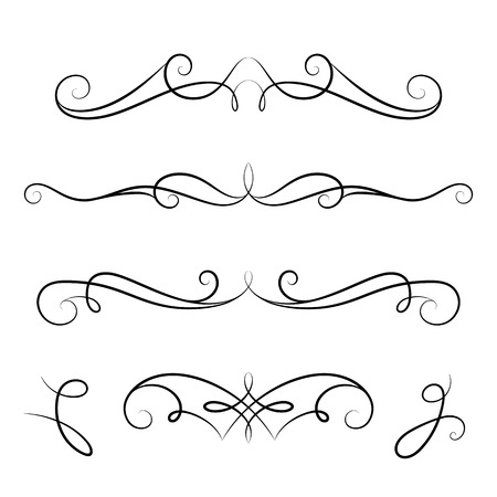 Vintage calligraphic vignettes, page decoration template, set of decorative design elements in retro style, scroll embellishment on white Vettoriali