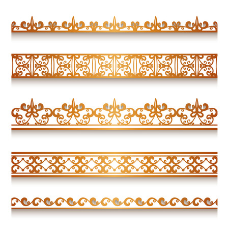 golden ribbons: Set of vintage gold ornamental borders, lace ribbons, decorative golden lines on white Illustration