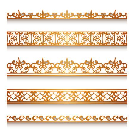 Définir des frontières vintages d'or d'ornement, des rubans de dentelle, des lignes d'or décoratifs sur blanc