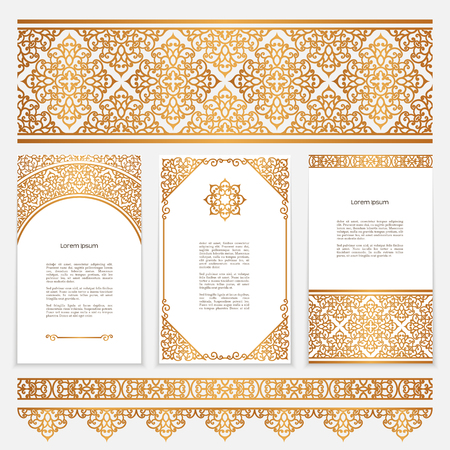 Vintage gold borders and frames in Arabic style, set of scroll embellishment on white
