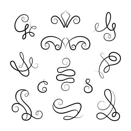 vignettes: Vintage vignettes and flourishes, set of calligraphic decorative design elements in retro style, scroll embellishment on white
