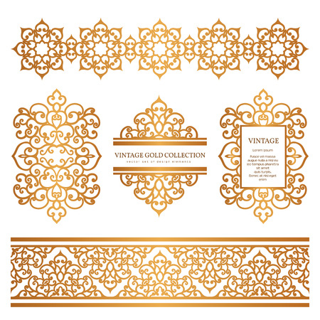 Vintage gold borders and frames, set of decorative design elements, golden embellishment on white