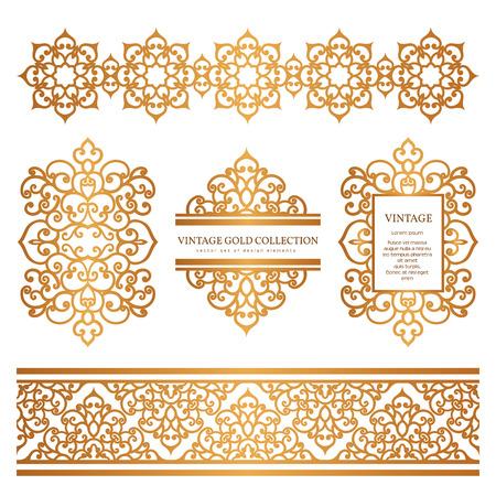 Uitstekende gouden randen en frames, set van decoratieve elementen, golden versiering op wit