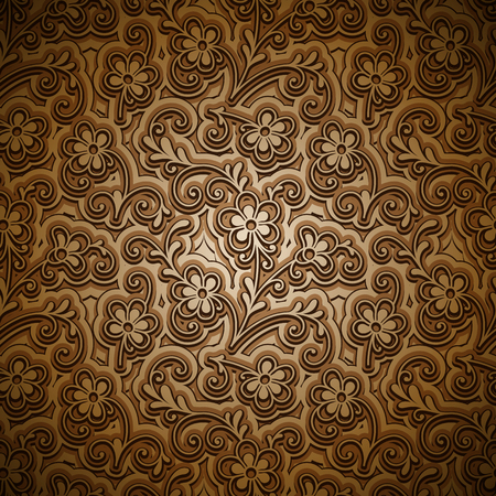 tiny: Vintage gold background, abstract floral ornament, curly golden pattern