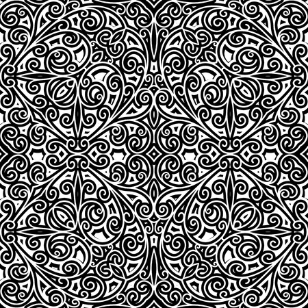 scrollwork: Black and white curly ornament, vintage seamless pattern