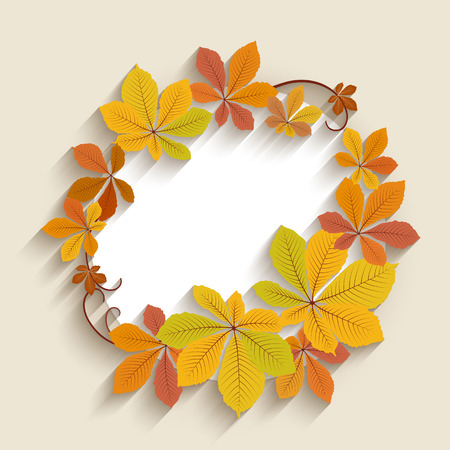 fallen: Autumn background, cutout paper label, circle frame with fallen yellow chestnut leaves