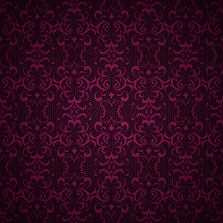 pink and black: Vintage ornamental lace background, swirly tulle texture Illustration