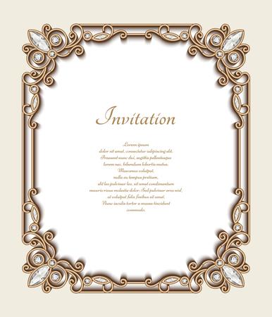 Fondo de oro de la vendimia, marco de la joyería rectángulo con la frontera ornamental, tarjeta de felicitación o invitación de la plantilla Ilustración de vector