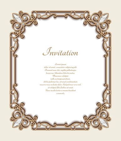 Vintage gold background, rectangle jewelry frame with ornamental border, greeting card or invitation template Vectores