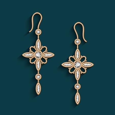 Vintage gold jewelry earrings with diamonds, jewellery pendants, filigree womens decoration Illustration
