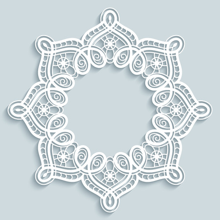 Paper lace background, round vignette, ornamental lacy frame