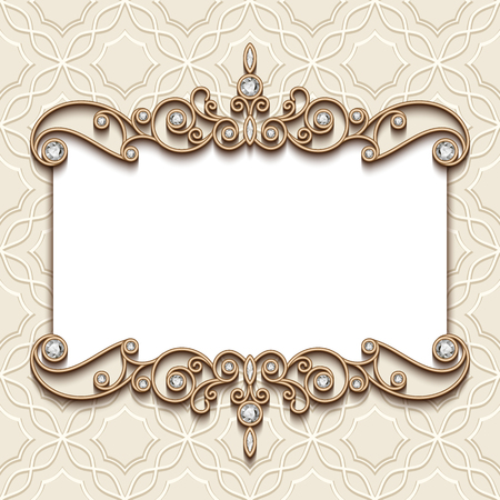 vintage frame: Vintage card with diamond jewelry decoration, elegant wedding invitation or announcement template