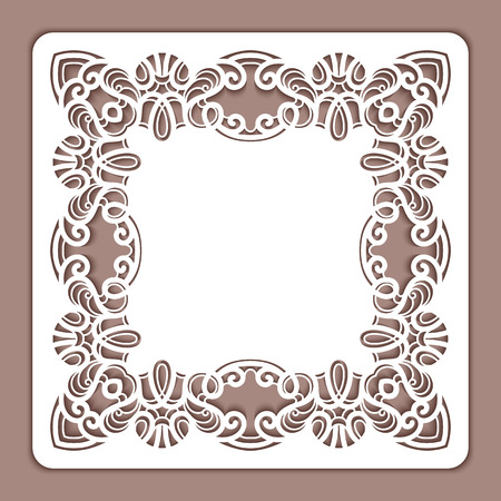 Cutout paper lace, square frame, greeting card or wedding invitation template