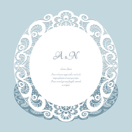 Round frame with cutout paper lace border, elegant save the date card or wedding invitation template