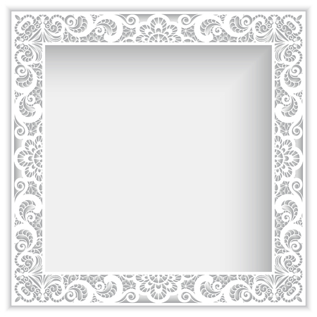 square frame: Square white frame with cutout paper lace border ornament