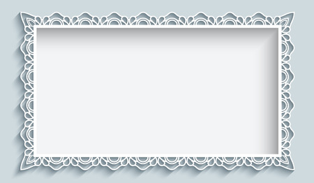 Rectangle frame with paper lace border ornament, greeting card or wedding invitation template