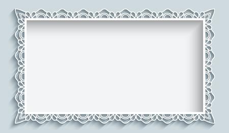 Rechteck-Rahmen mit Papier Spitzen Grenze Verzierung, einer Grußkarte oder Hochzeitseinladungsschablone Vektorgrafik