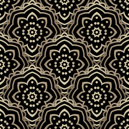 overlapped: Gold and black scalloped ornament, shiny seamless pattern of overlapped round motifs Illustration