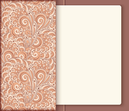 memos: Ornamental pocket folder with sheet of paper inside, decorative notebook cover