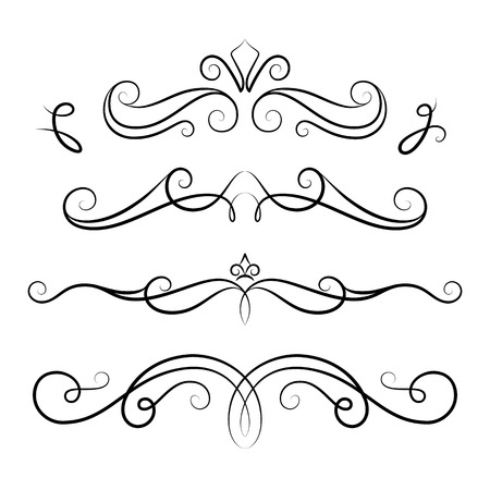 scroll design: Vintage calligraphic vignettes, set of scroll design elements in retro style, decorative flourishes, elegant embellishment on white