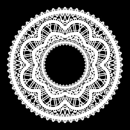 Round white frame with lace border ornament, lacy label, circle tulle decoration on black