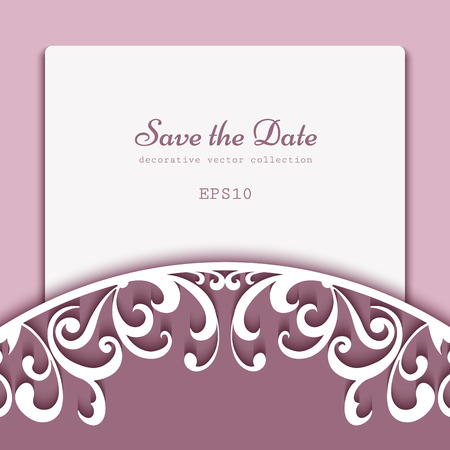 Elegant background with decoration of cutout paper swirls, save the date card or wedding invitation template