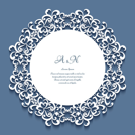 Round frame with lace border ornament of cutout paper swirls, elegant label, badge, save the date card or wedding invitation template
