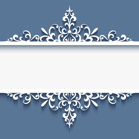 Elegant border ornament, decorative frame with cutout paper swirls, divider, header, greeting card or wedding invitation template