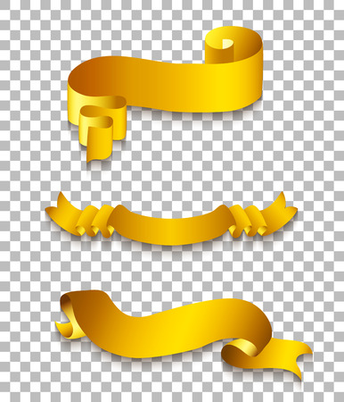 golden ribbons: Set of realistic gold ribbons, curled golden banners on transparent background Illustration
