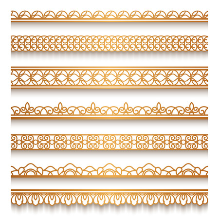 vintage lace: Set of vintage gold ornamental borders, lace ribbons, decorative golden lines on white Illustration