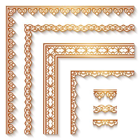 Conjunto de las esquinas y las fronteras del oro de la vendimia, decoración ornamental en blanco