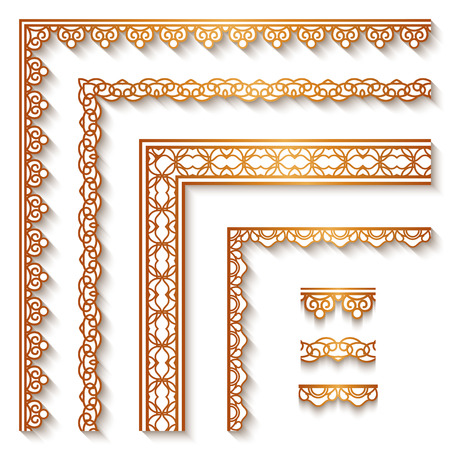 Set of vintage gold corners and borders, ornamental decoration on white