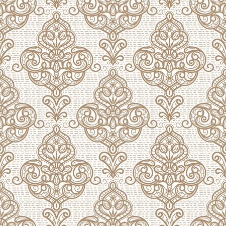 Vintage beige ornamental background, vector seamless damask pattern in neutral color Illustration