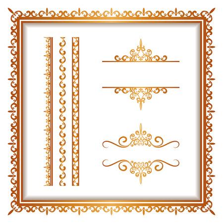 golden frames: Vintage gold borders and frames, set of decorative design elements, golden embellishment on white