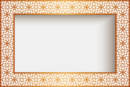 rectangle: Rectangle frame with gold border decoration, greeting card or wedding invitation template